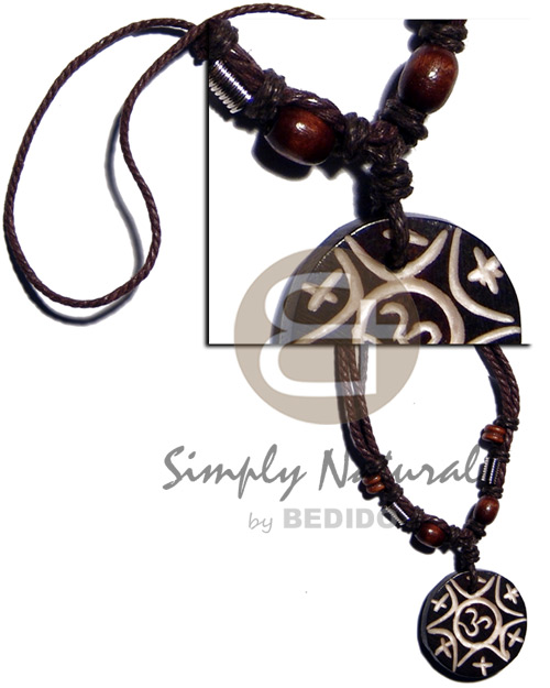 Tribal carved 30mm round wooden Teens Necklace