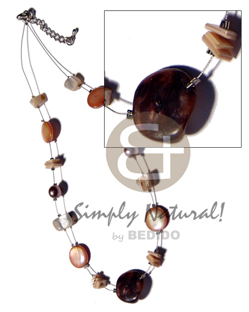 Brownlip tiger shell nuggets in Teens Necklace
