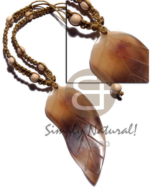 85mmx40mm carabao amber horn leaf Teens Necklace