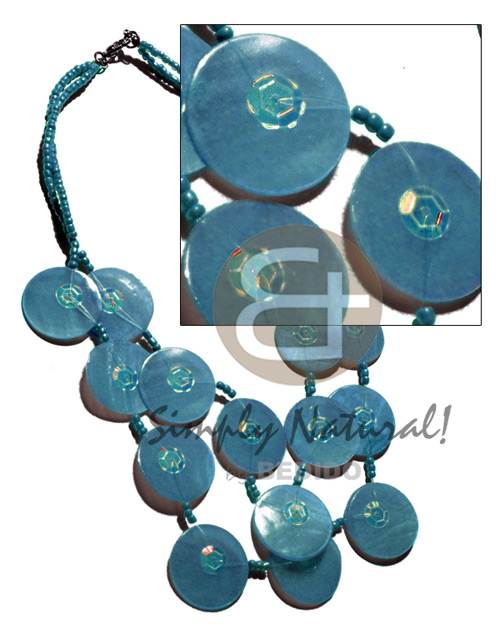 25mm subdued blue capiz shells Teens Necklace