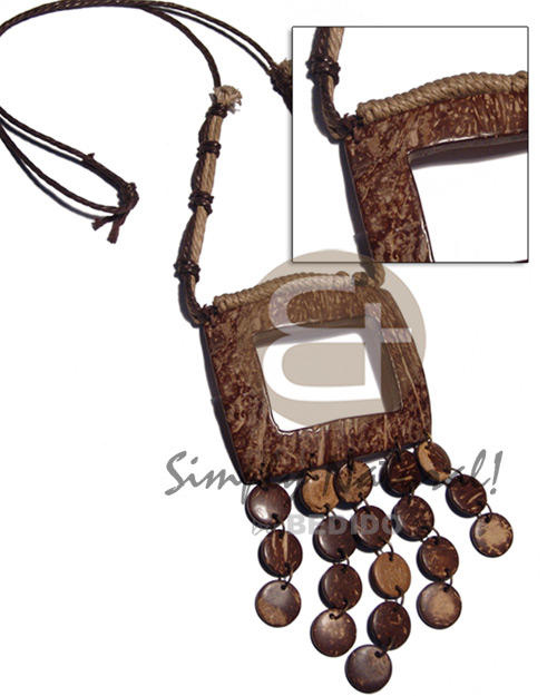 Brown beige wax knotted wax cord Teens Necklace