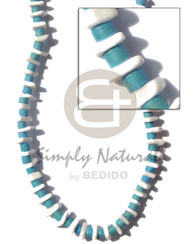 4-5 mm coco heishe aqua Teens Necklace