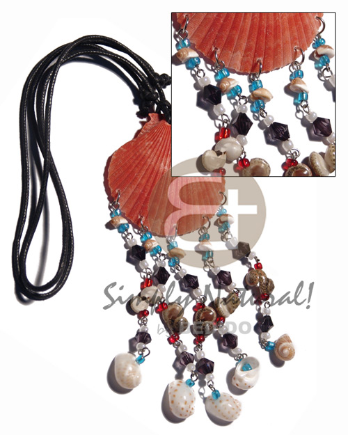 hand made Red limpet shell dangling Teens Necklace