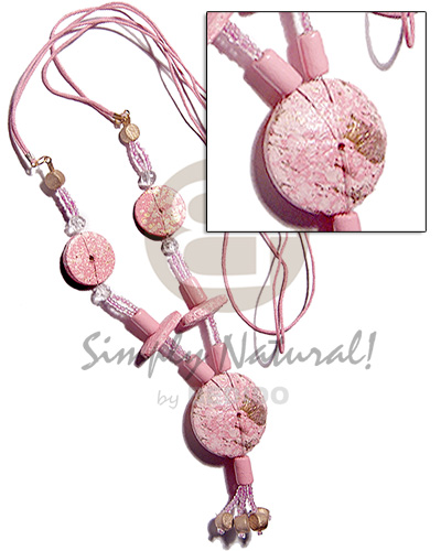 2 layers pink wax cord Teens Necklace
