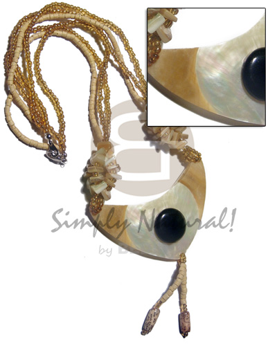 3 rows 203mm yellow coco heishe/golden glass beads combination  goldlip nuggets accent  80mmx40mm tassled MOP  skin and button pendant / 18in - Teens Necklace