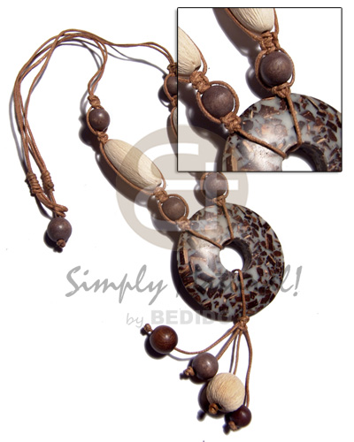 tassled 50mm donut coco chips in resin  texture wood bead combination and 2 layers wax cord neckline / 20in - Teens Necklace