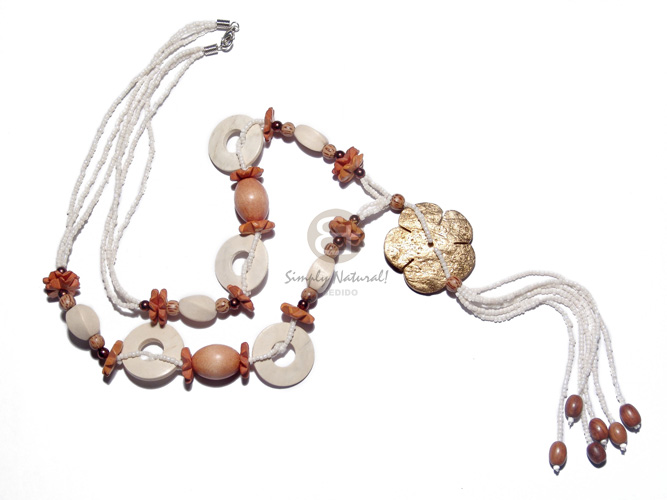 asstd wrapped and textured wood and kukui beads in 2 rows wax cord  buri nuggets and crochet accent / 32in - Teens Necklace