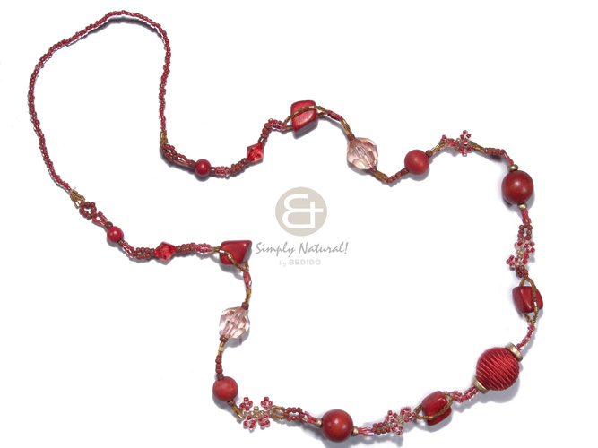 Dark red and amber glass Teens Necklace