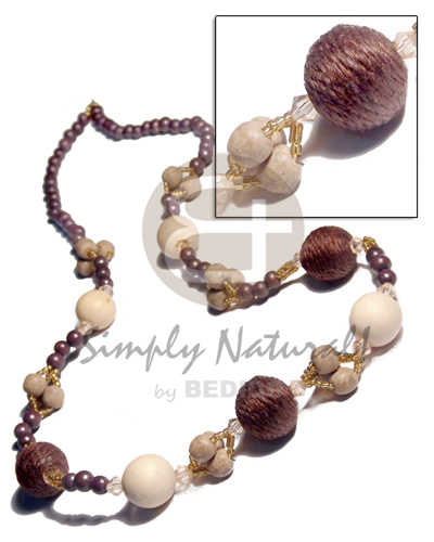 20mm wrapped round wood beads Teens Necklace