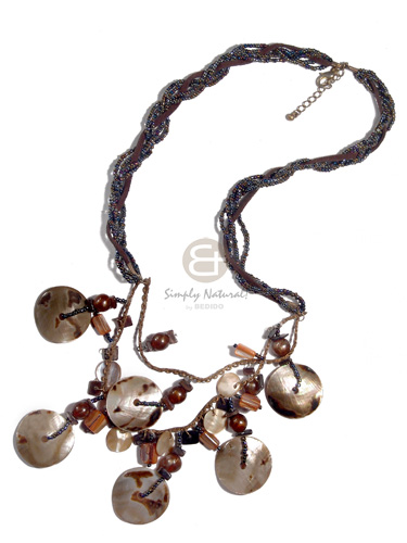 flat twisted 2 rows rainbow glass beads and one brown leather thong  2 graduated rows of metal chain  dangling  6 pcs 30mm brownlip tiger, 4 pcs. 10mm round brownlip and other shell accents /  22/in/24in - Teens Necklace