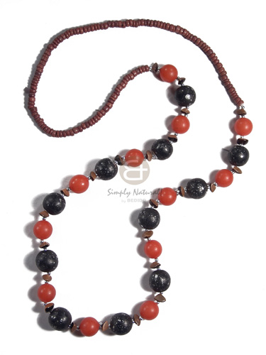 light brown 4-5mm coco Pokalet 15mm round black  silver splaashing wood beads and red round buri seeds combination  buri nuggets alt./ 32 in - Teens Necklace