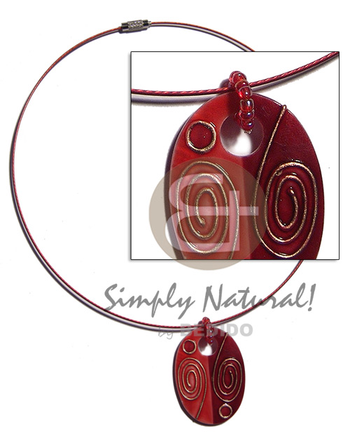 Coated red cable wire handpainted Teens Necklace
