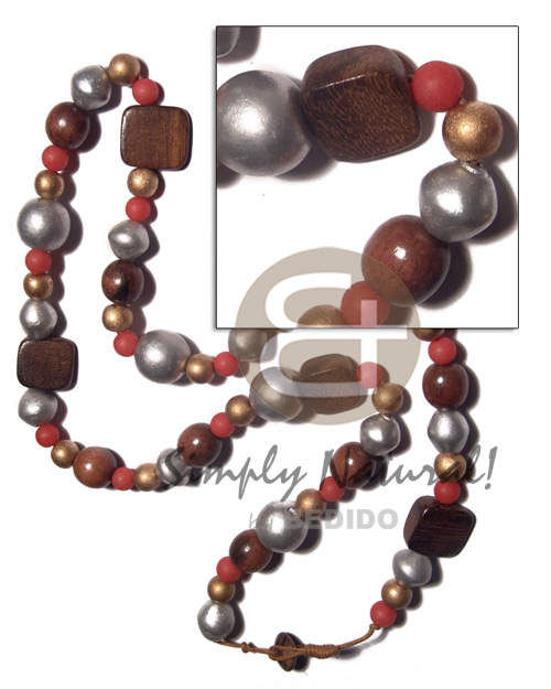 asstd. wood beads in nat. brown, gold, light red , silver tones  sliced melon 20mmx10mmx5mm robles wood accent in wax cord / knotted cord   wood beads stopper / 30in - Teens Necklace