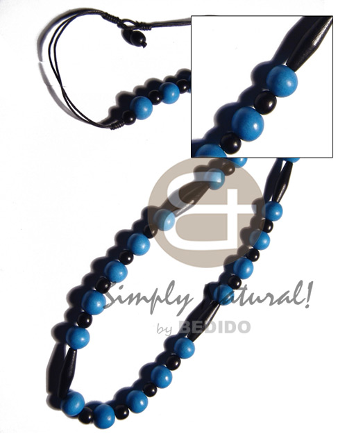 12mm bright blue wood bead Teens Necklace