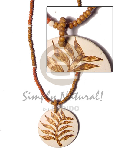Round coco pendant fern Teens Necklace