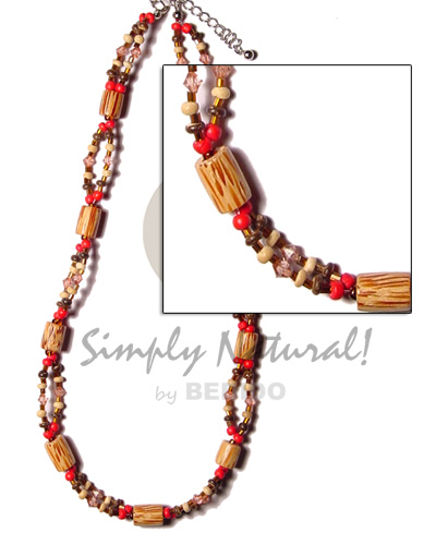 2 rows 2-3 red brown bleach coco Teens Necklace