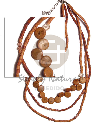 3 rows graduated tan 2-3mm Teens Necklace