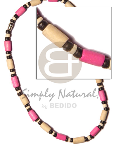 Bleach pink wood tube 4-5mm Teens Necklace