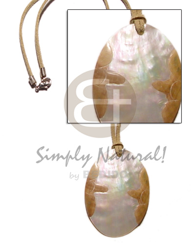 Leather thong oval mop Teens Necklace