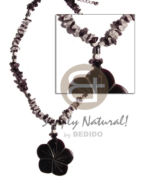 Black and clear stone crystal Teens Necklace