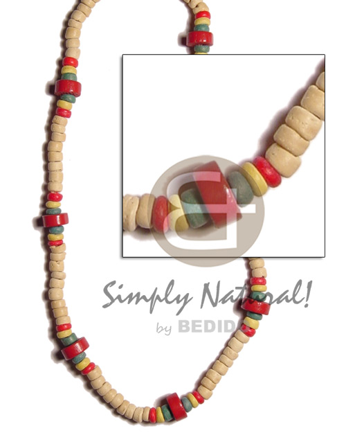 4-5 coco pokalet natural white red green yellow Teens Necklace