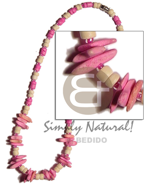 Pink bleach white 4-5mm coco pokalet. Teens Necklace