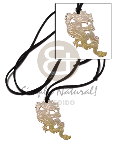 45mm carved dragon mop in Tribal Necklace