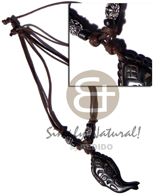 Tribal wooden fish carved 44mmx25mm Tribal Necklace