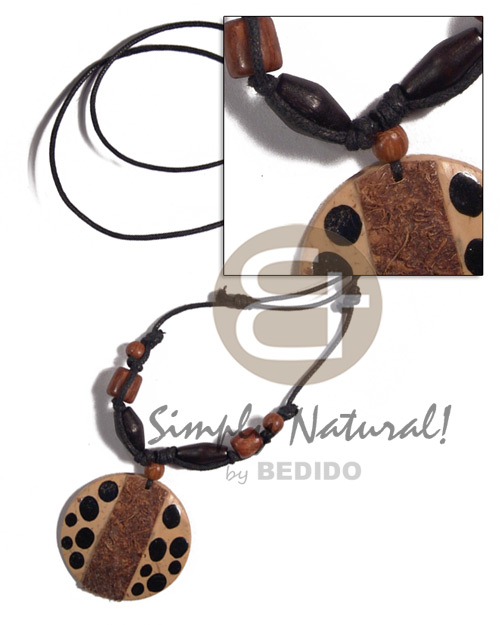 adjustable wax cord  round 45mm coco  hair and black painted dots pendant - Tribal Necklace