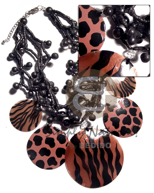 5 layers 2-3mm black coco heishe  black wood beads combination  and dangling brown 5 pcs. capiz shells  animal prints - 2pcs. 40mm/ 2pcs. 50mm/ one pc. 70mm / 16in - Tribal Necklace