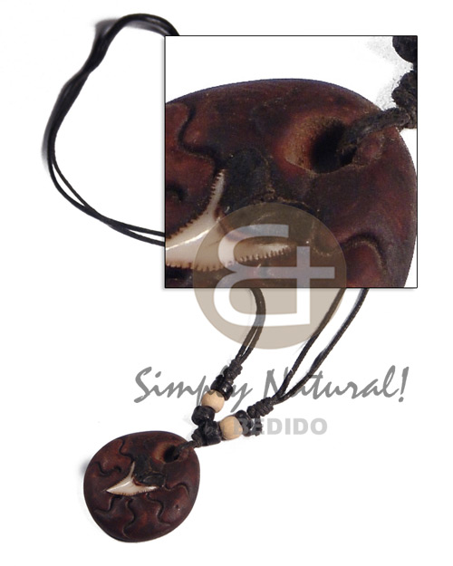 30mm round clay shark Tribal Necklace