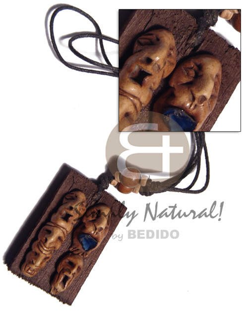 Clay tribal mask on 60mmx40mm Tribal Necklace