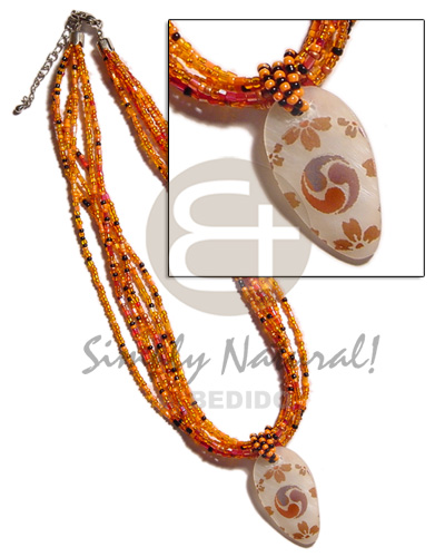 6 rows orange multi layered Twisted Necklace