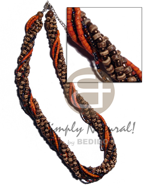 10 rows - 4-5mm tiger Twisted Necklace