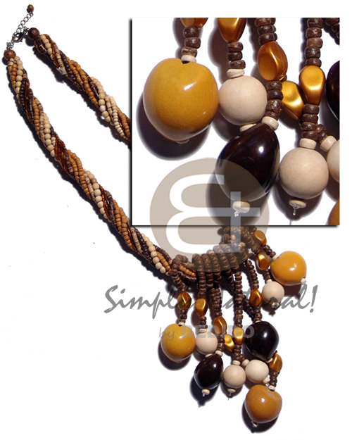 10 rows - 2-3mm brown Twisted Necklace