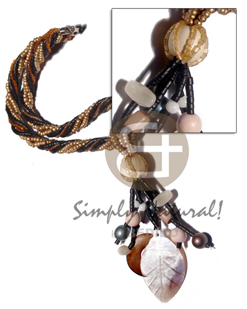 6 layers twisted 2-3mm coco Twisted Necklace