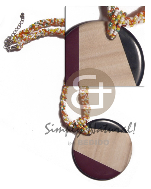 Round 60mm patched ambabawod wood Twisted Necklace