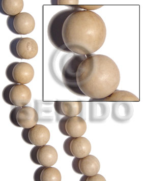 nat. white round wood beads  30mm - Unfinished Wood Beads