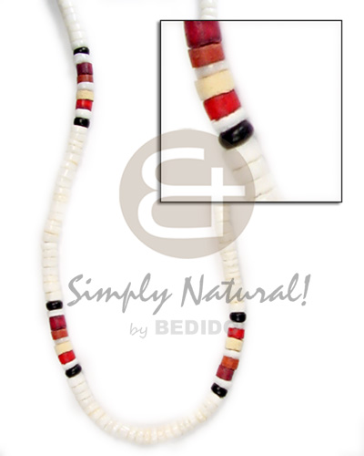 hand made 4-5mm wht clam red maroon black green combinationnation Unisex Necklace