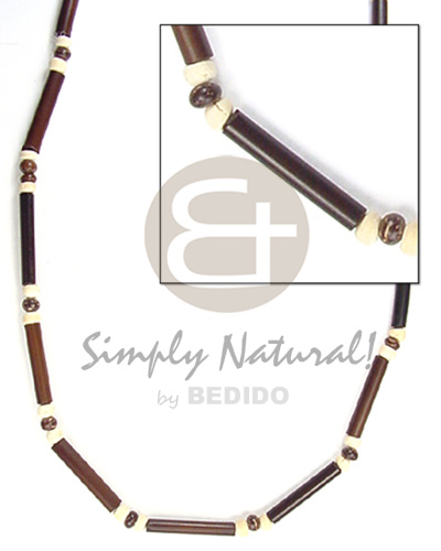 2-3mm dark brwn bamboo tube 2-3mm Unisex Necklace