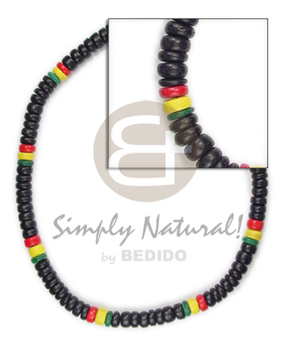 4-5mm rasta design dominant black Unisex Necklace