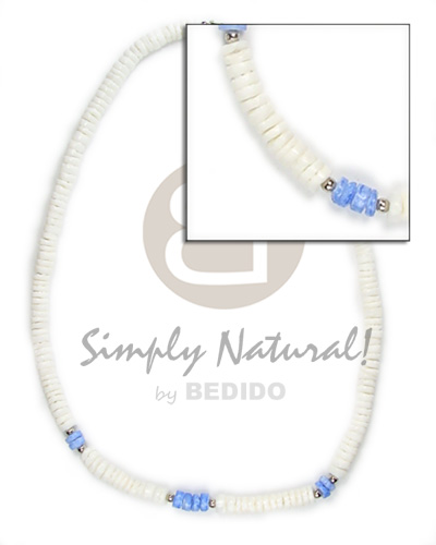 hand made 4-5mm wht shell with blue Unisex Necklace