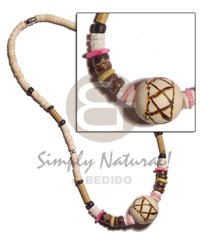 4-5mm coco heishe bleach Unisex Necklace