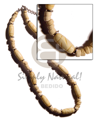 Bone capsules groove combinationned Unisex Necklace