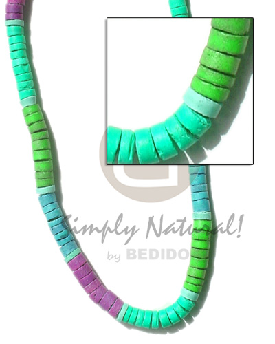 4-5mm coco heishe mint green neon Unisex Necklace