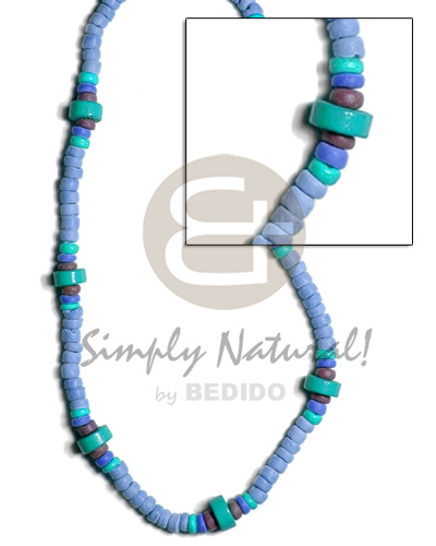 hand made 4-5mm coco pokalet. in blue Unisex Necklace