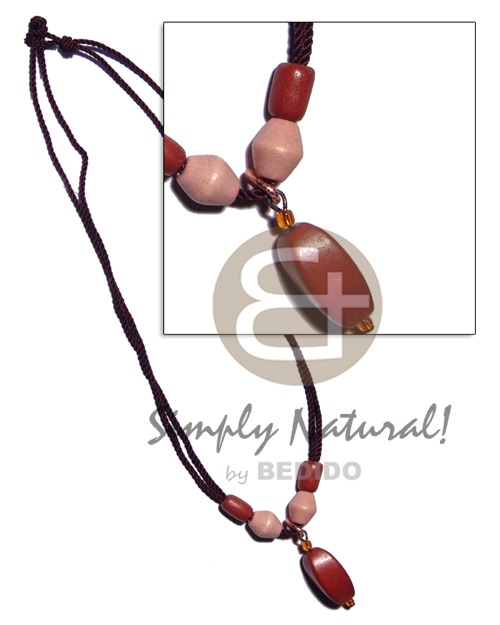 Wood beads in 2 layer Unisex Necklace