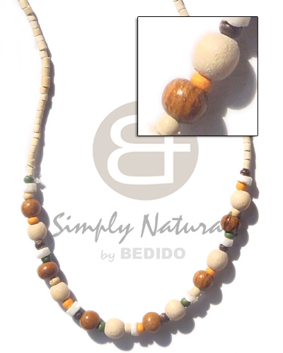 hand made 2-3 coco heishe bleach Unisex Necklace