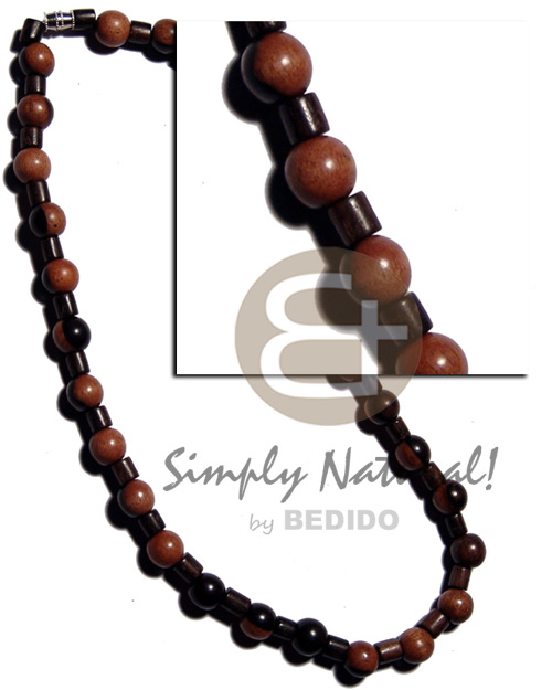 Round bayong wood beads Unisex Necklace