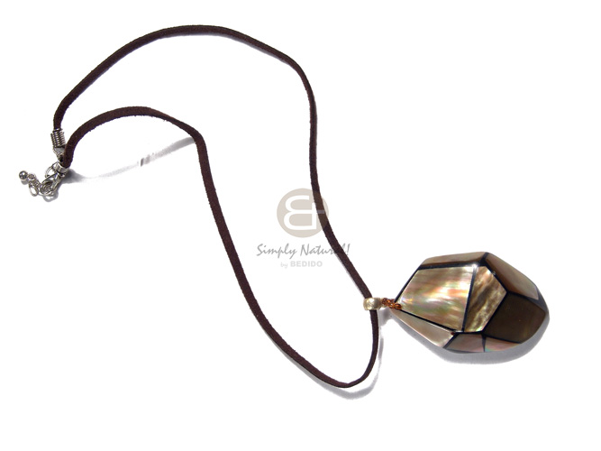 50mmx35mm laminated and embossed brownlip  resin backing in brown leather thong/ 18in - Unisex Necklace